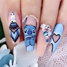 Disney Acrylic Nails, Clear Acrylic Nails, Summer Acrylic Nails, Summer Nails, Spring Nails, Disney Nails Art, Autumn Nails, Summer Nail Art, Disney Manicure