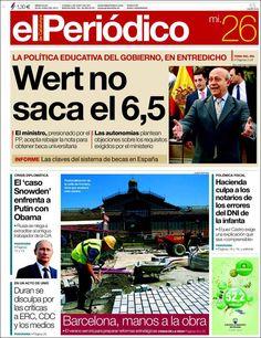 Los Titulares y Portadas de Noticias Destacadas Españolas del 26 de Junio de 2013 del Diario El Periódico ¿Que le parecio esta Portada de este Diario Español?