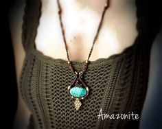 Amazonite macrame necklace with garnet and malachite beads, Brass bead pendant macrame, Vintage necklace, Boho hippie jewelry, Handmade