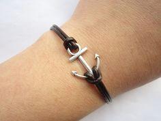 Anchor Bracelet---antique silver little anchor bracelet &brown leather chain