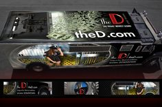 theD Las Vegas Casinos Grand Opening   •  Featuring an Armored Limo Wrap    Traveling from Uptown to Downtown, this Armored Limo advertises the NEW casino. I developed 7 concepts (including roof, hood, driver, passenger and back) for this moving billboard wrap. Playing off of an armored theme I used perspective and depth with this design. The vehicle is still used to lure guests downtown for a Fremont St. Experience.  Applications: Photoshop, Illustrator, InDesign