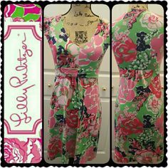 Lilly Pulitzer Floral Dress Lilly Pulitzer Signature Floral Pattern Dress, Gorgeous Flutter Style Sleeves Detail  Dress Length Approx 33 inches, Lovely Blend of Silk and Cotton, Mint Condition Lilly Pulitzer Dresses
