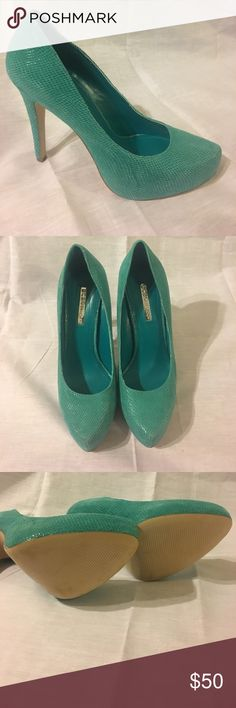 Bcbgeneration Parade Pointed Toe Leather Heels *Fashion Statement* Bcbgeneration Parade Women Pointed Toe Leather Turquoise Heels great for a night out or business meeting. *Gently Used* BCBGeneration Shoes Heels