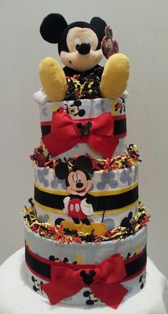 Mickey Mouse Diaper Cake by OccakesionsNBaskets on Etsy