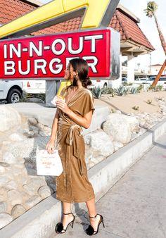 Kristinit Violane Velvet Wrap Dress & Aquazzura Powder Puff Pompom Slingback Sandal.  Sexy for cocktails and dining in LA #nightout