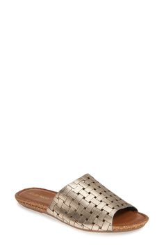 A leather strap with a chic, basket-weave texture enhances the trend-forward style of this easy slide sandal. Style Name:Klub Nico Gratzie Woven Slide Sandal (Women). Style Number: Available in stores. Most Comfortable Sandals, Slide Sandals, Basket Weaving, Heeled Mules, Nordstrom, Chic, Heels, Outfits, Leather