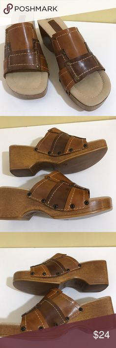 "Lower East Side Sandals Made in Brazil, size 9-1/2, leather upper, have been worn but in nice shape. Heel is 2-7/8"" Lower East Side Shoes Sandals"