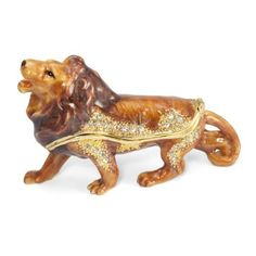 Lion Crystal Studded Pewter Jewelry Trinket Box by Welforth. $25.00. Perfect for collectors. Hand-applied enamel, bejeweled with sparkling crystals. Magnetic closure. Lion shaped pewter trinket box with hinged top. Overall size 3.7 x 1.2 x 2.4 inches (LxWxH). Perfect for collectors, this charming trinket box is made from pewter, handpainted and bejeweled with sparkling crystals. The hinged lid features a magnetic closure opening to a painted interior. Due to handcrafting,...
