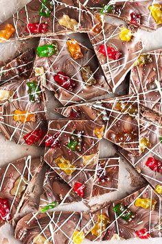 Chocolate Covered Gummy Bear Bark