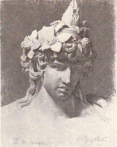 varvar.ru: Михаил Александрович Врубель. Карандашный рисунок гипсовой головы (голова Бахуса). 1881
