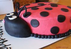 Cute and fun lady bug cake Pretty Cakes, Cute Cakes, Beautiful Cakes, Amazing Cakes, Fondant Cakes, Cupcake Cakes, Ladybug Cakes, Ladybug Party, Toy Story Cakes