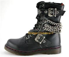 Demonia Disorder 204 Punk Gothic Womens Ankle Hi Chained Combat Goth Boots
