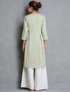 Buy Olive Box Pleated Khadi Cotton Kurta (Back) Online at Jaypore.com