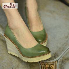 Artmu阿木原创16新款森女浅口单鞋舒适厚底坡跟防水台高跟女鞋