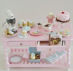Sweet Petite Miniature Pink Baking Table Set by SweetPetiteShoppe