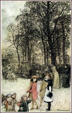 "The Broad Walk - Arthur Rackham's Book Of Pictures, 1913. Reminds me of ""A Little Princess"" <3"