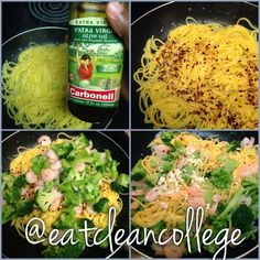 Eating Clean on a College Budget. Dinner/Lunch Recipes an easy, healthy, and quick 4 step shrimp scampi!
