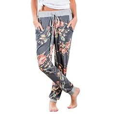dcc890831282 Cruiize New Floral Printed Sweat Pants Women Casual Long Pants Bottoms  Female Elastic Waist Pants Trousers