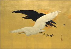 """White Heron and Raven Flying"" (1880) 