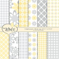 12 Digital Graphic Floral and Geometric Scrapbook by ToutAimee $6.39