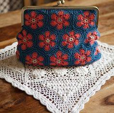 ideas … crochet coin purse … african flower hexagon...