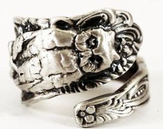 Spoonier Exclusive Owl Spoon Ring with Snake in Eco Friendly Sterling Silver, Handcrafted & Adjustable to Your Size (2402)