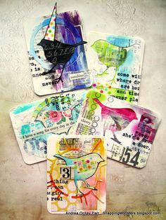"This week's Simon Says Stamp Monday Challenge Theme is, ""Things with Wings.""  I went for a classic bird shape, which I made into five ATC's...."
