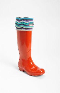 Hunter Tall Gloss Rain Boot & Zigzag Cuff Welly Socks | Nordstrom  LOVE THE SOCKS!!!!!!!