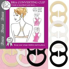 Braza Racerback Converting Clips includes 3 clips 4402 covert bra to cross-over