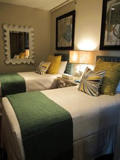 Green and Gold Transitional Bedroom With Twin Beds Twin Beds Guest Room, Home, Home Bedroom, Bedroom Design, Transitional Bedroom, Guest Bedrooms, Beautiful Bedrooms, Bedroom Green, Room