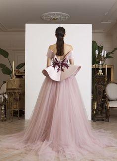 Off-shoulder light pink double satin and tulle sculptural gown, embellished with burgundy floral sequins