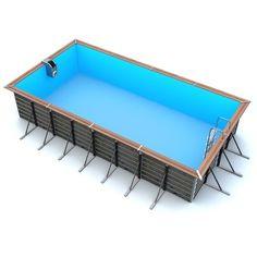 Piscine bois rectangulaire 6,80 x 3,70 x 1,47 m TILOS Hydroponic Farming, Hydroponics, Pool Landscaping, Landscape, Water, Leroy Merlin, Products, Piscine Hors Sol, Pool Spa