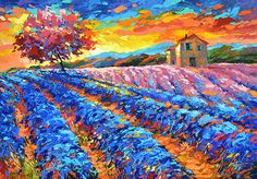 Evening in Provence  Oil on canvas Painting by Dmitry Spiros.