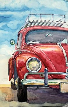 Aquarela beatle wallpaper daily paintworks search through our over 100 000 paintings new original fine art daily paintings; oils acrylics watercolors and more from a growing group of daily painters Car Painting, Painting & Drawing, Watercolor Illustration, Watercolor Paintings, Watercolors, Painting Inspiration, Art Inspo, Car Drawings, Art Sketches