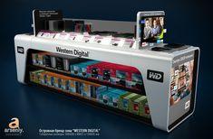 - by Stanislav Tsybulsky Mobile Kiosk, Shop Counter Design, Mobile Shop Design, Reception Table Design, Shop Shelving, Pharmacy Design, Exhibition Booth Design, Store Displays, Shop Interiors