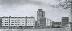 """Debney's Estate, Flemington, on completion in The towers remain today, but the """"walk up"""" low rises were demolished late Ascot Vale, Melbourne Victoria, Historical Architecture, Melbourne Australia, Historical Photos, Old Photos, Pond, Action, History"""
