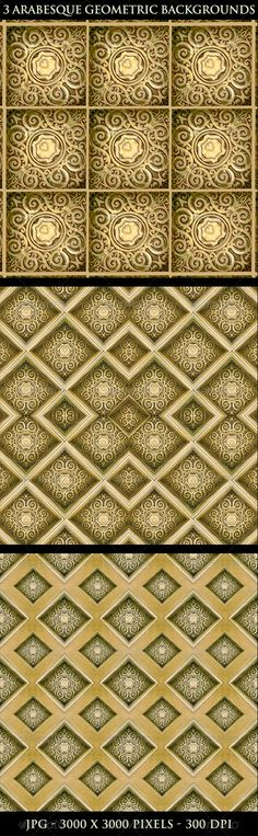 3 Arabesque Geometric Backgrounds  abstract, arabesque, art, artistic, background, creative, decoration, decorative, design, diamonds, digital, diversity, elegant, fancy, gold, illustration, luxury, ornament, paper gift, pattern, retro, screen saver, seamless, swirls, textile, texture, tiled, uniqueness, vibrant, wallpaper