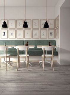 Concept configuration for banquette with 3 small rectangular tables and 3 chairs.  (not this chair style though)  Like the finish combination of white and natural wood.