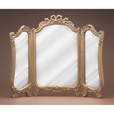Hickory Manor 7327BZ Tri Fold Vanity Bronze Decorative Mirror - Walmart.com - Walmart.com Wedding Mirror, Vanity Wall Mirror, Bathroom Mirrors, Welcome To The Web, Decor Market, French Country Furniture, Leaf Coloring, Mirrors, Tatuajes