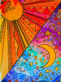 art lessons pattern sun and moons Kunstjournal Inspiration, Art Journal Inspiration, Warm And Cool Colors, Warm Colours, Creation Art, Ecole Art, School Art Projects, Wow Art, Middle School Art