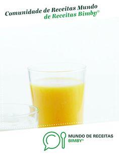 Néctar de manga laranja de Equipa Bimby. Receita Bimby<sup>®</sup> na categoria Bebidas do www.mundodereceitasbimby.com.pt, A Comunidade de Receitas Bimby<sup>®</sup>. Pint Glass, Manga, Tableware, Juices, Healthy Drinks, Holiday Recipes, Portuguese Recipes, Community, Orange