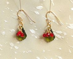 Holly Berry Earrings  Holiday Earrings Mistletoe