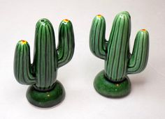 1970s Cactus Salt & Pepper Shakers Desert by TimeEnoughAtLast