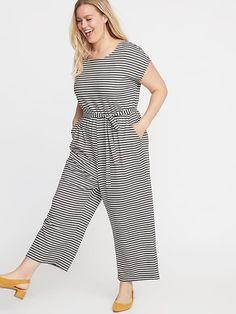 146eb85018f7f7 Old Navy Women s Waist-Defined Plus-Size Cross-Back Cropped Jumpsuit Navy  Stripe