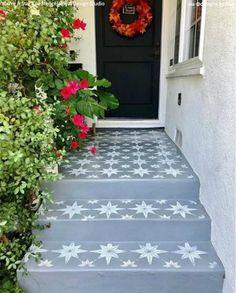 You're a Star Tile Stencil Painted Concrete Steps, Painted Porch Floors, Stencil Concrete, Porch Paint, Patio Paint, Painting Concrete Patios, Best Concrete Paint, Painted Cement Patio, Concrete Front Steps