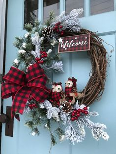 Farmhouse Buffalo Plaid Ribbon, Owls and Welcome sign Grapevine Winter Wreath for Door . Wreaths, wreaths for front door, Christmas, Rustic by DesignsbyDebbyOhio on Etsy Homemade Christmas Wreaths, Christmas Wreaths For Front Door, Christmas Door Decorations, Holiday Wreaths, Christmas Diy, Christmas Ornaments, Holiday Decor, Winter Wreaths, Spring Wreaths