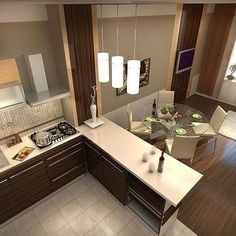 Ideas for design kitchen room open concept Kitchen Room Design, Kitchen Dinning, Living Room Kitchen, Home Decor Kitchen, Kitchen Interior, Interior Design Living Room, Home Kitchens, Casa Octagonal, Small Open Plan Kitchens