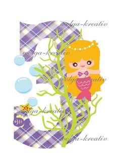 Girls  Birthday mermaid Iron on Instant Download Printable for print von wolgakreativ auf Etsy