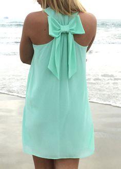 Cute Bowknot Embellished Round Neck Straight Chiffon Dress - Green