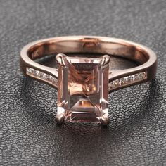 8ce7df67d Prongs Emerald Cut Morganite Channel H SI Diamond 14k Rose Gold Engagement  Ring Rose Gold Engagement
